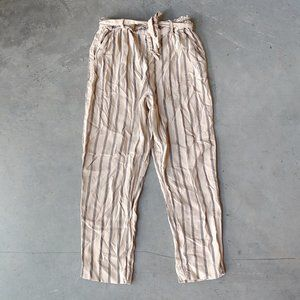 H&M Girls Tan Striped Belted Waist Trouser Pants